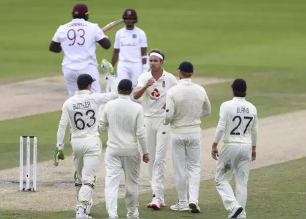 Windies first innings at 197, Broad's 'Six'