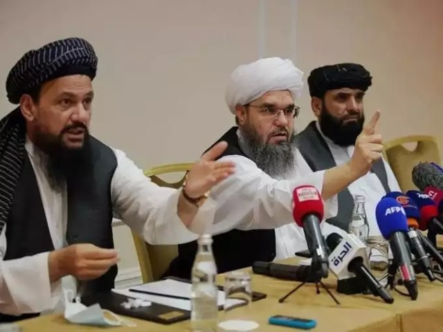 Members of Taliban political office attend a news conference in Moscow.
