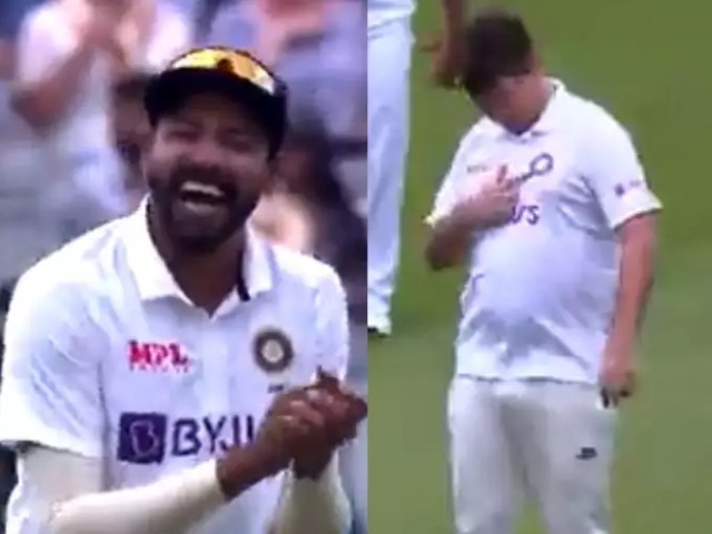 British fan entered the field wearing Indian jersey, laughing and laughing, Mohammed Siraj and Ravindra Jadeja were rolling