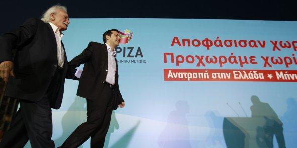 Manolis Glezos et Alexis Tsipras pendant la campagne électorale.