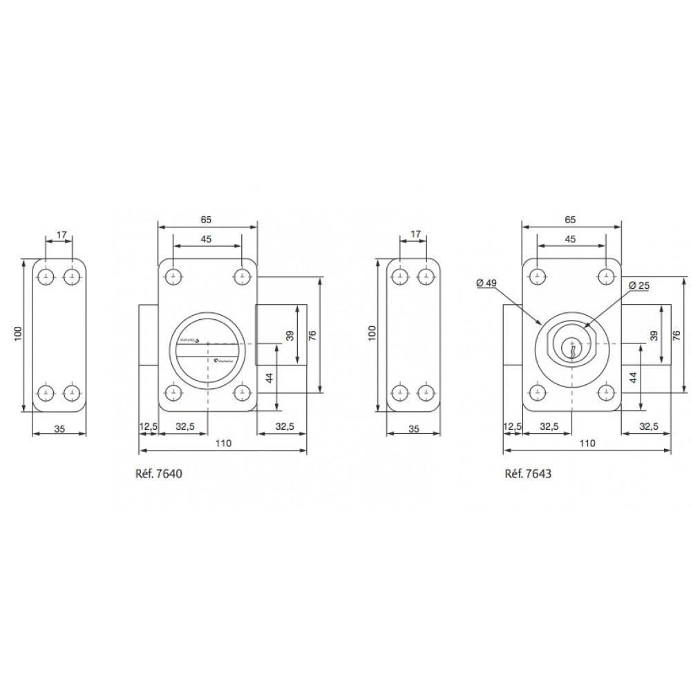 verrou en applique de surete a bouton cylindre extensible v 136