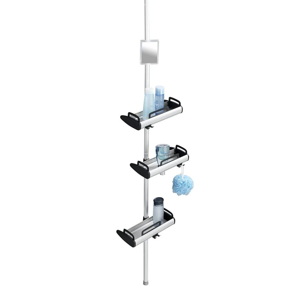 etagere de douche telescopique 3 tablettes pivotantes et miroir wenko sur bricozor