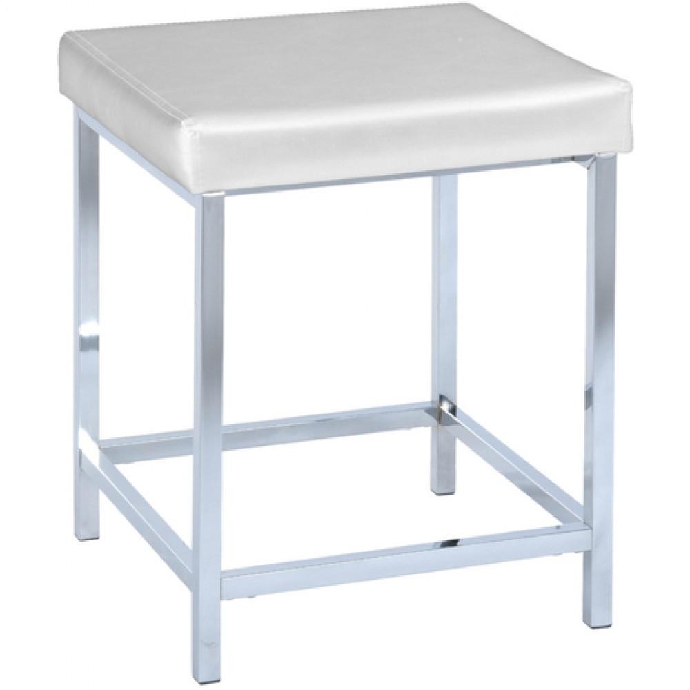 tabouret pour salle de bain assise carree rembourree aspect cuir blanc