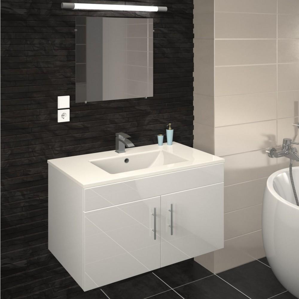 meuble de salle de bain 80 cm lime blanc gris mat ou chene