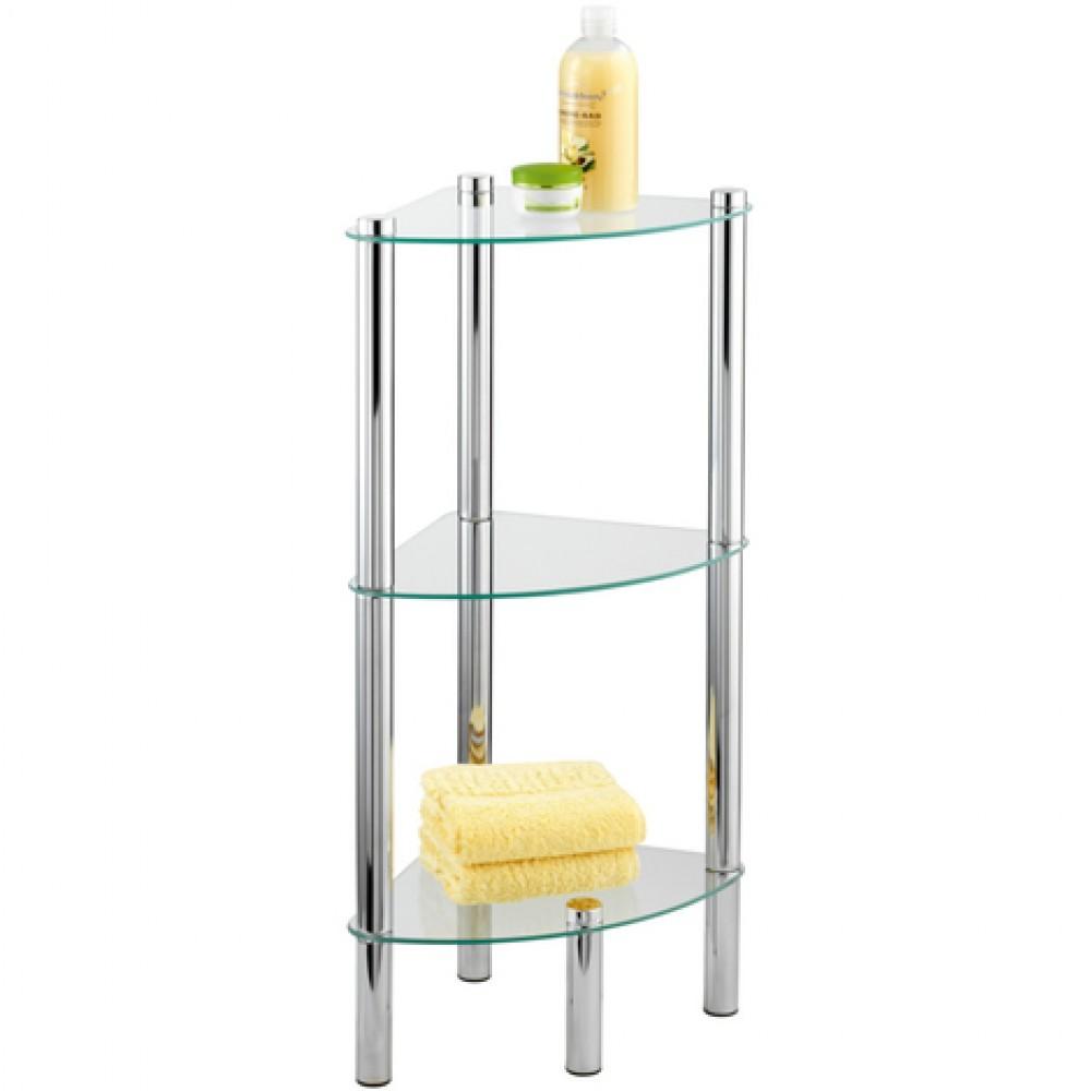 etagere de salle de bain d angle yago 3 tablettes en verre wenko sur bricozor