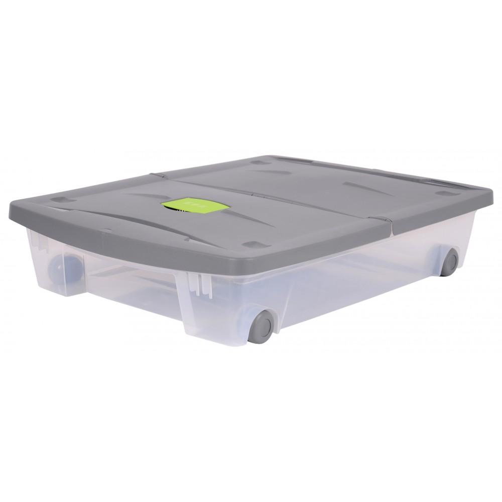 boite rangement sous lit avec roulette 50 litres eda plastiques sur bricozor