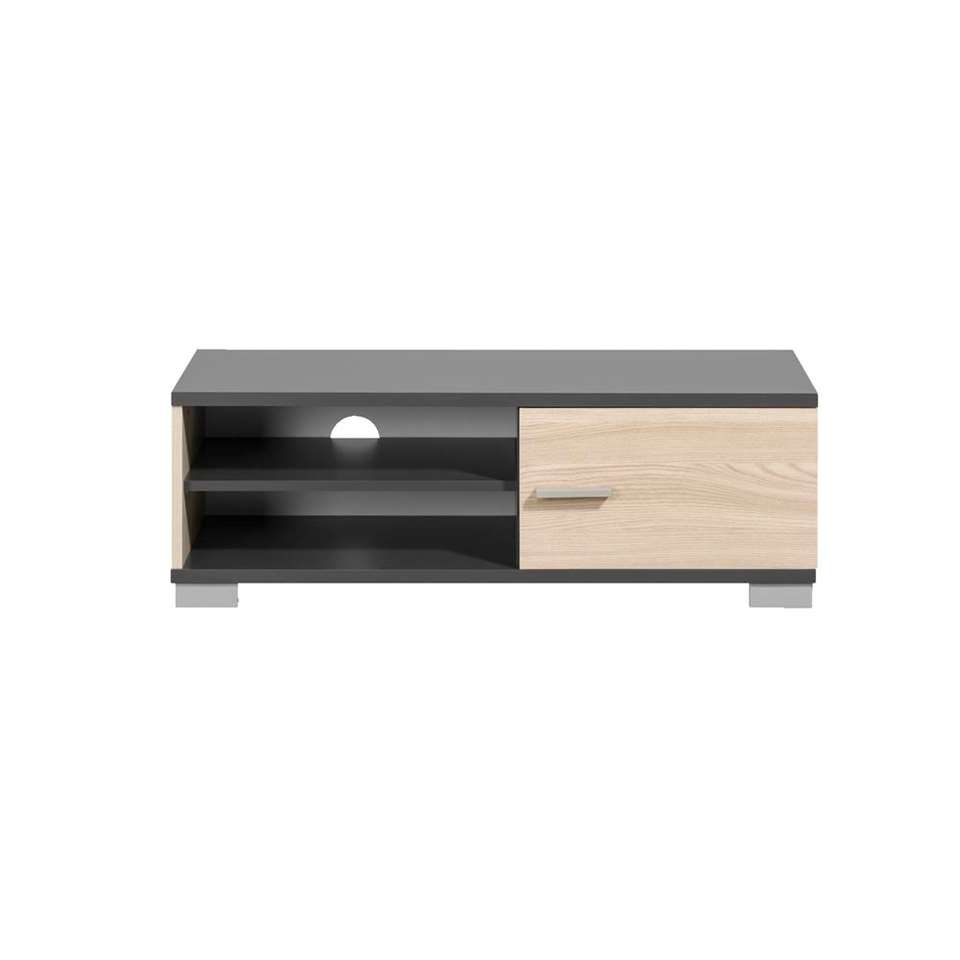 meuble tv boston gris et couleur de bois 35x100x40 cm