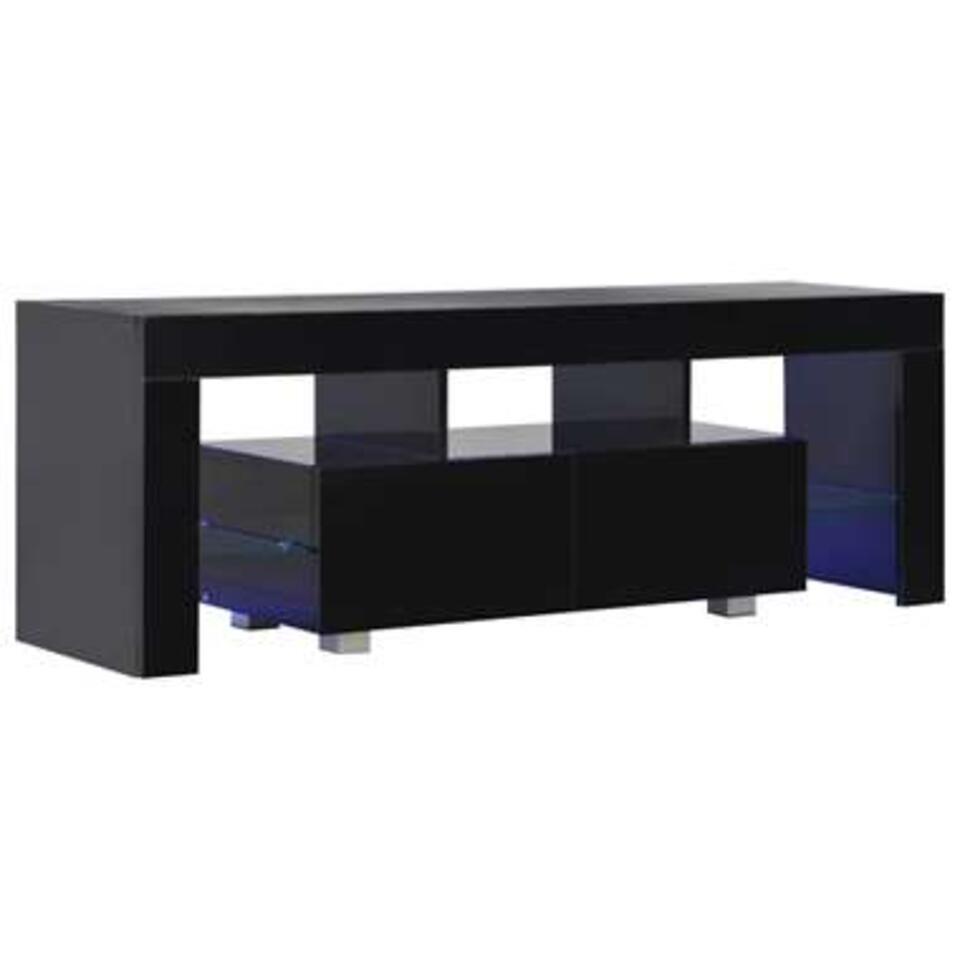 vidaxl meuble tv avec lumiere led noir brillant 130 x 35 x 45 cm