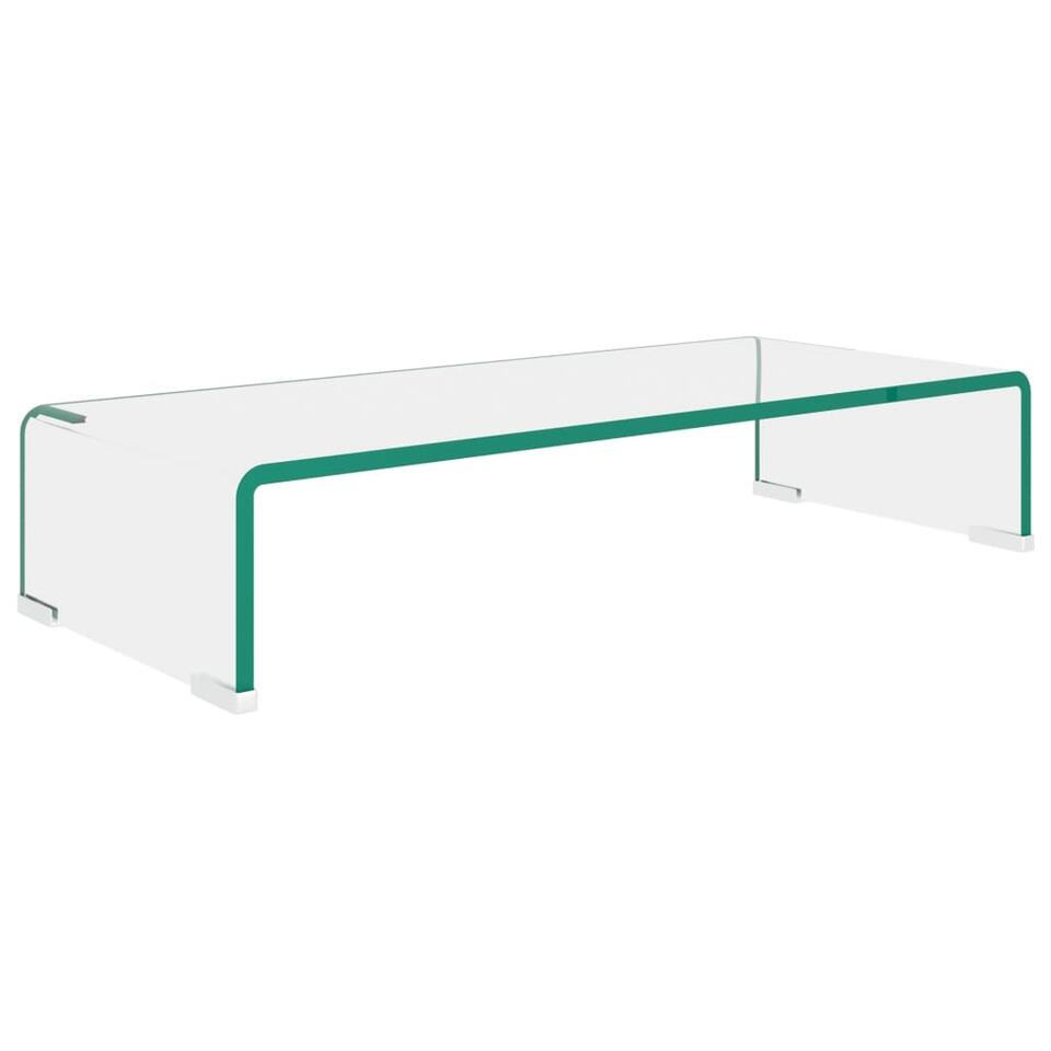 vidaxl meuble tv pour moniteur 60 x 25 x 11 cm verre transparent
