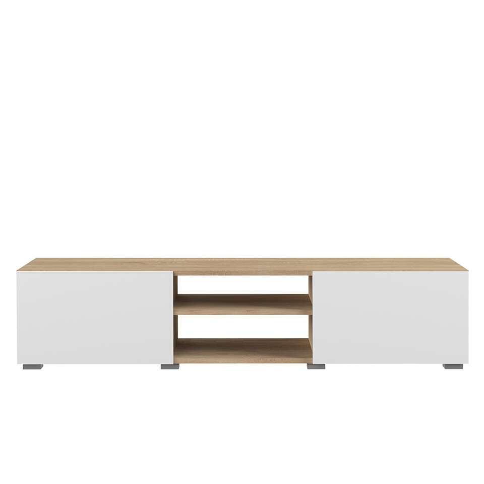 symbiosis meuble tv borhaug 2 portes couleur chene blanc 31x140x42 cm