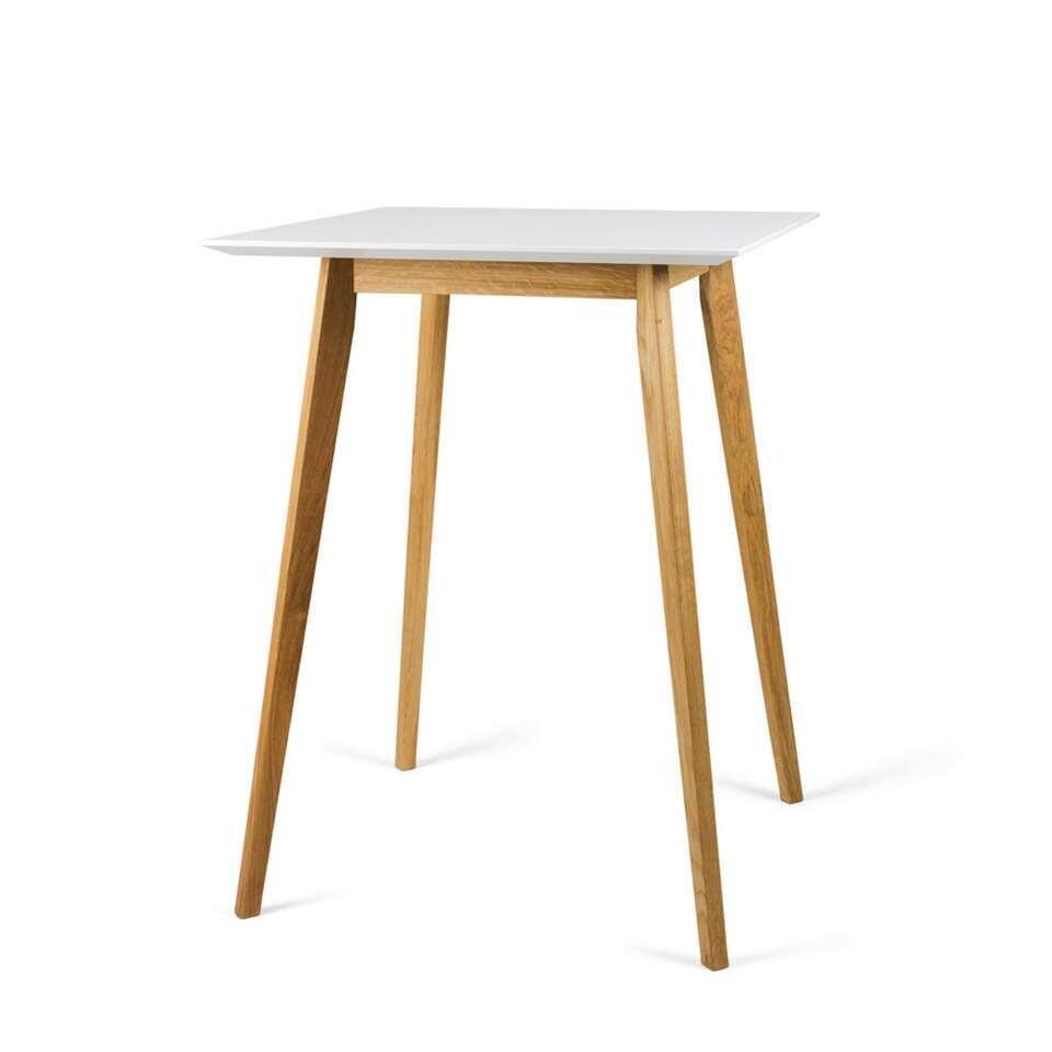tenzo table bar bess blanche couleur chene 105x80x80 cm
