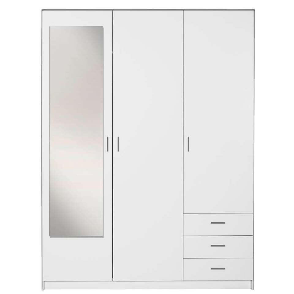 Armoire Sprint 3 Portes Avec Miroir Blanche 200x148x51 Cm Leen Bakker