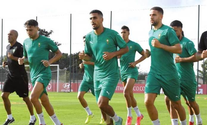 Avant dernier galop d'entraînement des Lions de l'Atlas au complexe Mohammed VI de football à Maamora avant d'affronter le Soudan.