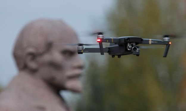 Civil drones can weigh from a few grams to several tens of kilograms. Their price also varies from a few tens of euros to over a thousand. Here, a drone equipped with a camera flies over a statue of Vladimir Ilich Lenin at the Muzeon Art Park in Moscow.