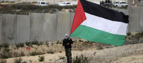 A Palestinian protester holds a flag as he stands near the controversial Israeli barrier opposite Israeli security officers during a weekly protest in the West Bank village of Bilin near Ramallah February 17, 2012. REUTERS/Ammar Awad (WEST BANK - Tags: POLITICS CIVIL UNREST)