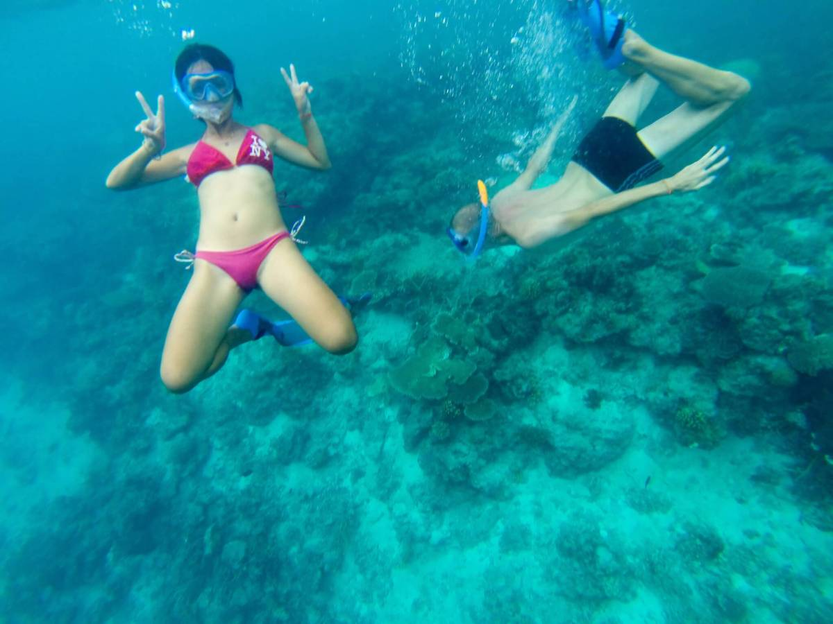 snorkelling somewhere in the sea