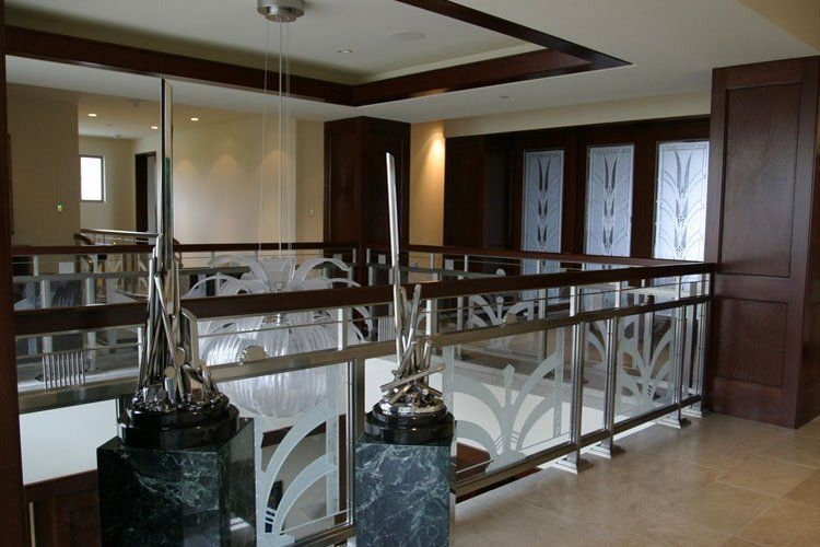 Carved Glass Classical Glass Studios Custom Fine Art Glass   Etched Glass Stair Panels   Bannister   Mirror   Tempered Glass   Duplex   Glass Etching