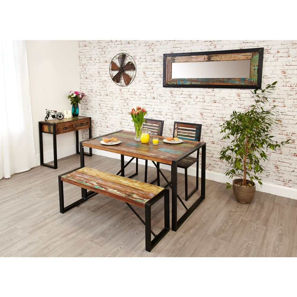 urban chic small dining table with 2 chairs and 1 bench set