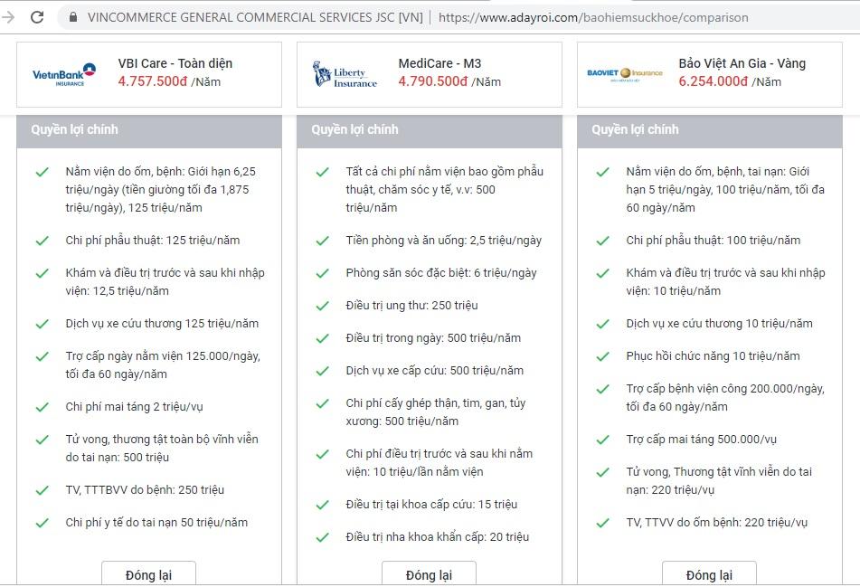 Bạn chứng minh và khẳng định có thể thuận tiện và đơn thuần và giản dị so sánh những gói bảo hiểm trên Adr