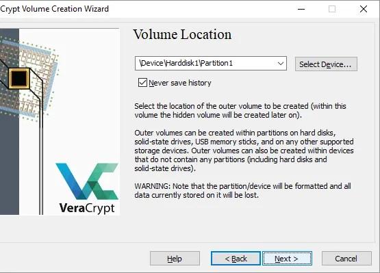 VeraCrypt Wizard Creazione guidata