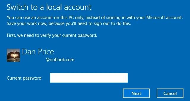 Windows-10-sign-in-account-locale di conferma