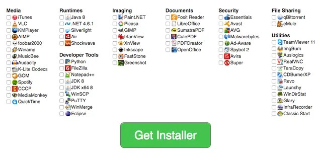 Ninite list of software to include in mass-installer.