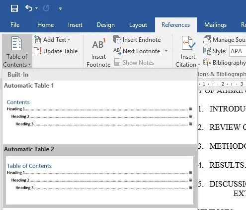 Microsoft office table of contents template 2010 for Microsoft office table of contents template