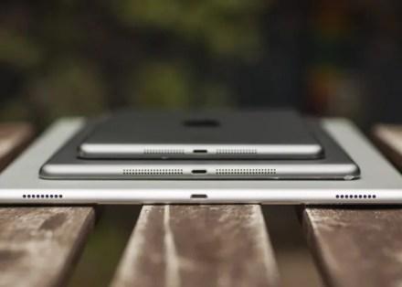 Three iPad models stacked
