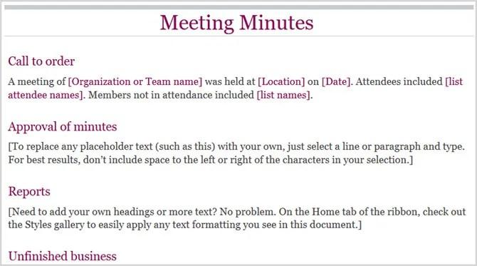 Verbale della riunione di base Word online 1
