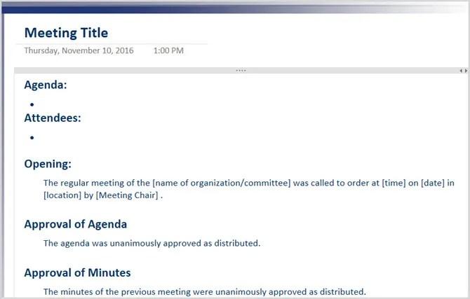 Verbale della riunione formale OneNote 2016