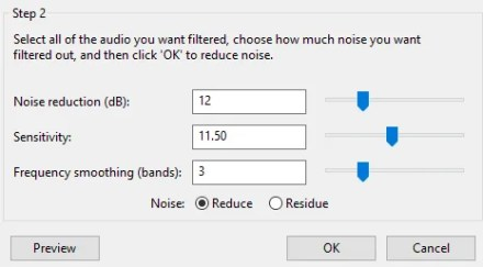 Remove background noise - Filter the audio