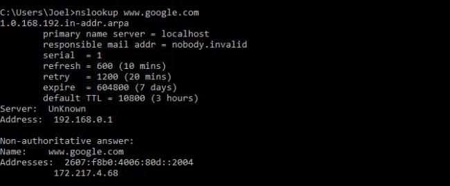 windows-command-nslookup