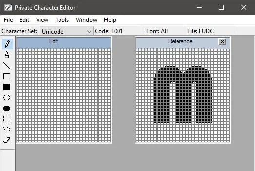 Fenêtre d'édition de l'éditeur de caractères privés