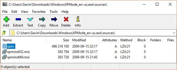 xp mode internal folders