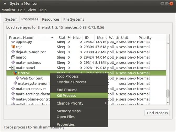 Убить не отвечающие процессы Linux