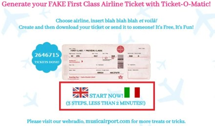 fake ticket homepage
