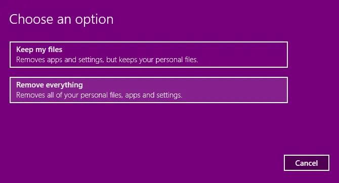Scegli come reimpostare Windows 10