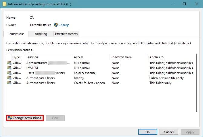 расширенные настройки безопасности диска Windows