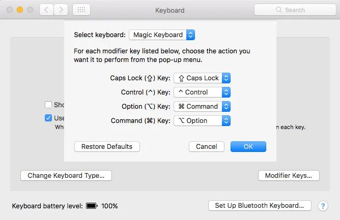 يقوم Mac بتغيير مفاتيح التعديل