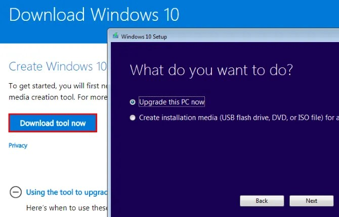 Scarica Windows 10 Media Creation Tool Esegui l'upgrade ora Crea supporti di installazione
