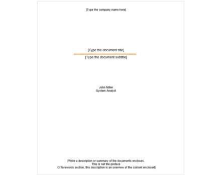 cover page template basic