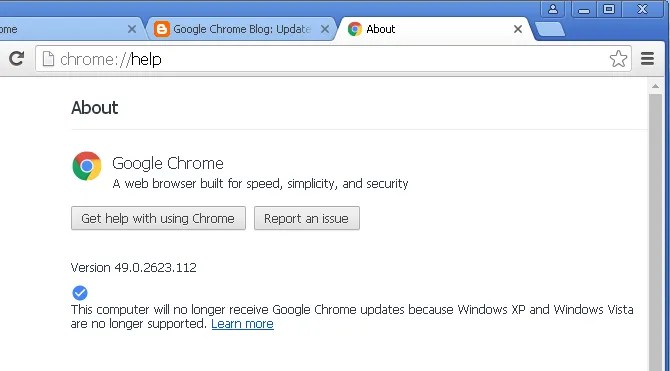 Google Chrome в Windows XP не поддерживается