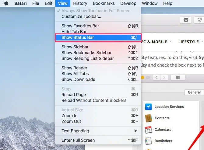 Отображение строки состояния в Safari через меню «Вид»