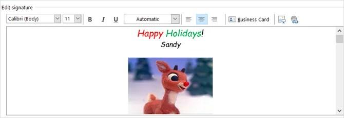 электронная почта праздника outlook подпись