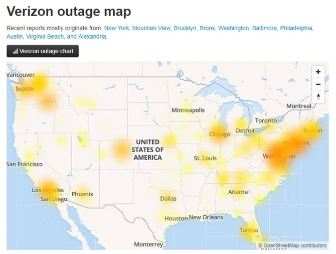 DownDetector Outage map - The Internet Tips