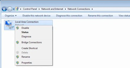 Windows 7 disable network adapter