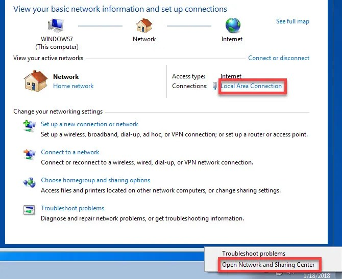 Windows 7 change network adapter options - The Internet Tips