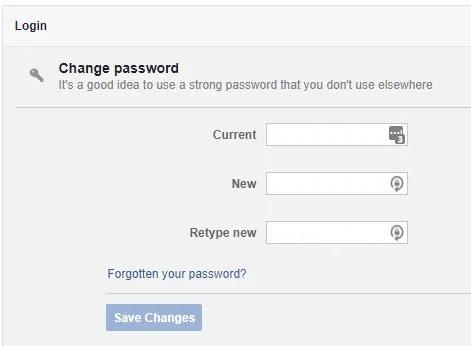كيفية تغيير كلمة السر في الفيس بوك