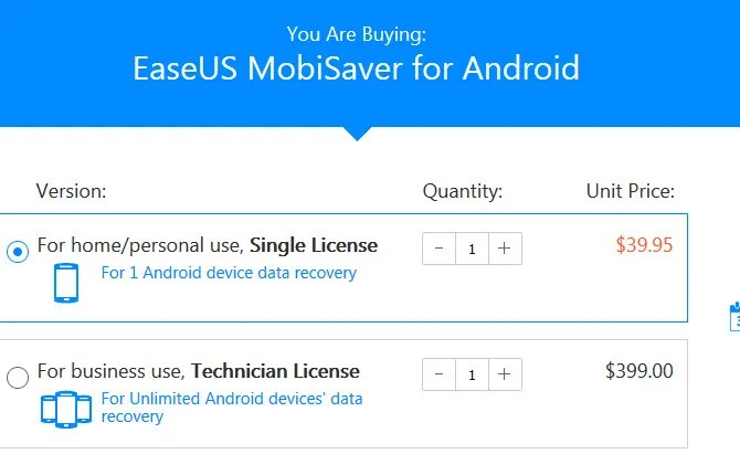 This shows easeus mobisaver android data backup app for backing up or recovering files