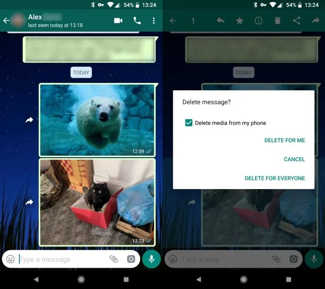 this shows deleting a message in the whatsapp photos app